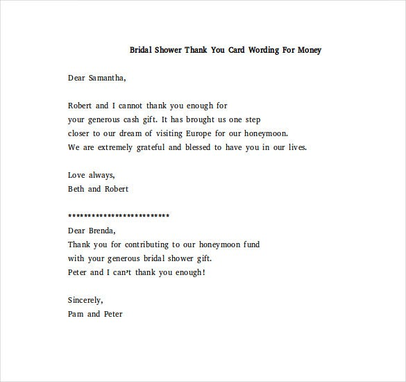Bridal Shower Thank You Note – 6+ Free Word, Excel, PDF Format ...