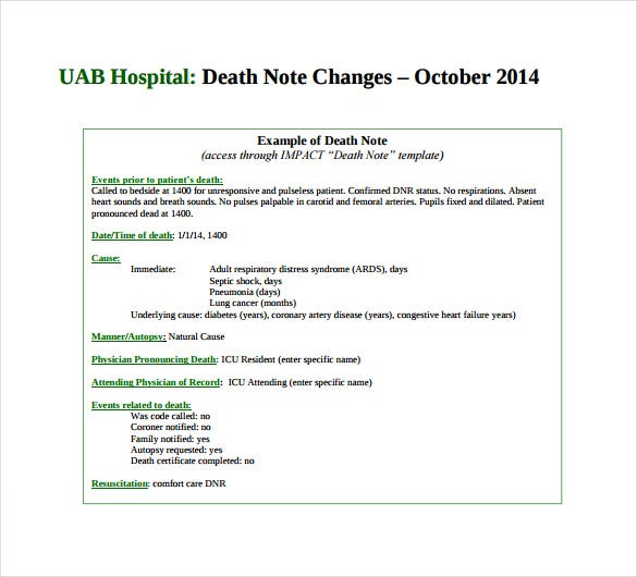 uabedu our website has a wide range of hospital death notice templates that can come in use for a death notice in hospitals these templates are present