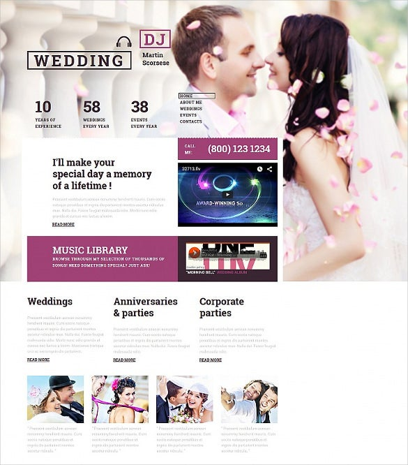 wedding responsive php moto cms 3 template