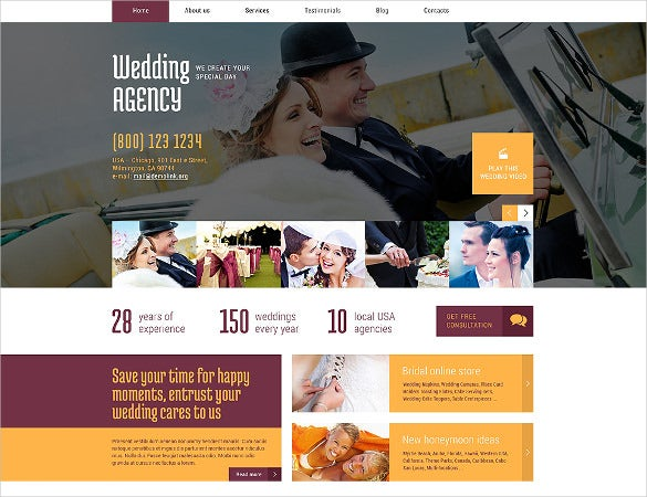 wedding planner responsive wordpress php theme