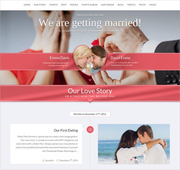 premium wordpress wedding php theme