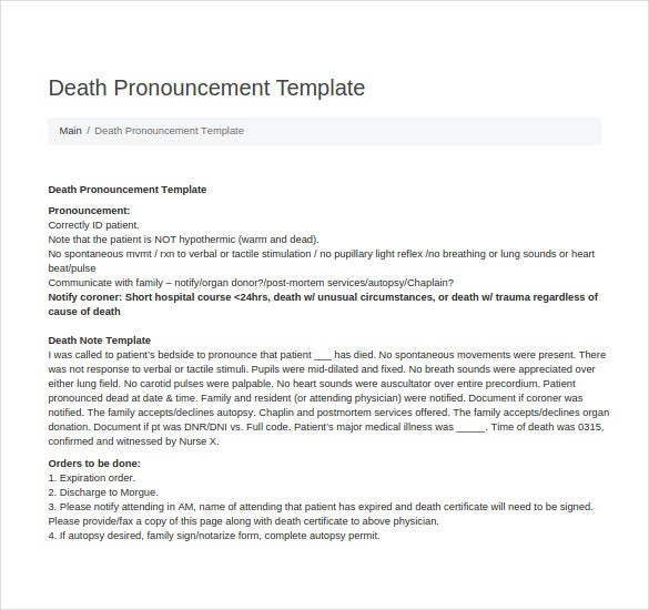 death pronouncement note template
