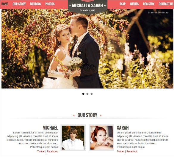 one page responsive wedding php template
