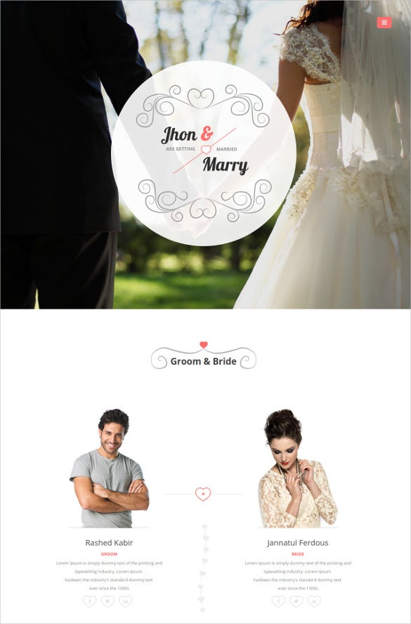 wedding day html php theme