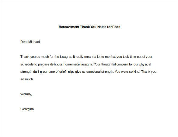 Bereavement Thank You Note 8 Free Word Excel PDF Format – Thank You Notes for Donation