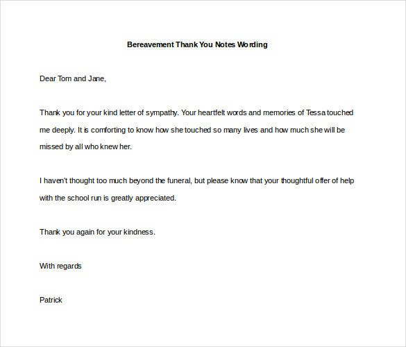 bereavement thank you notes wording
