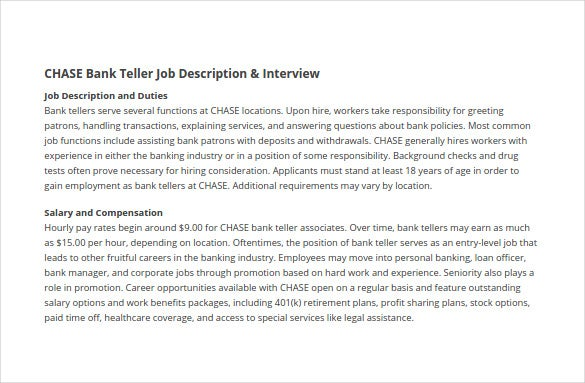 chase bank teller sample job description template