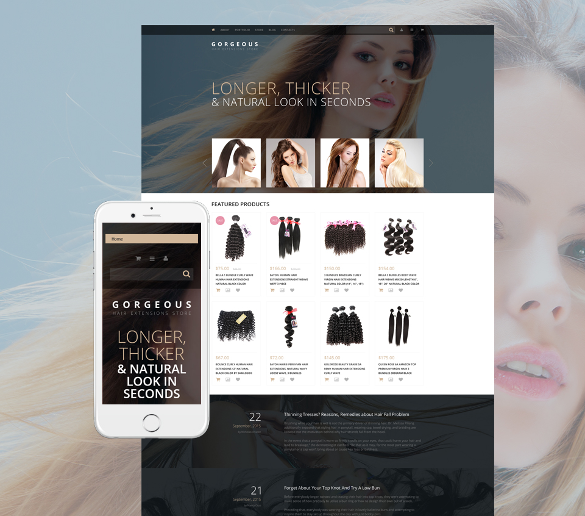 hair extensions portfolio woocommerce blog theme
