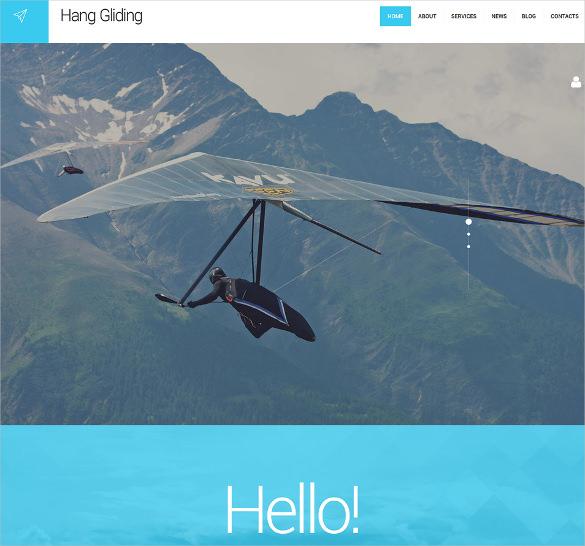 hang gliding wordpress portfolio html5 theme