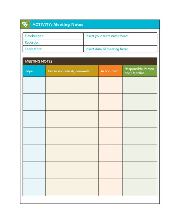 9+ Meeting Note Templates – Free Sample, Example, Format Download