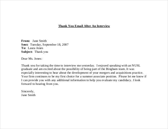 email thank you note after interview