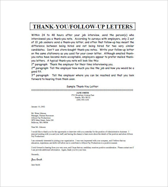 Thank You Note After Interview  Free Sample Example Format