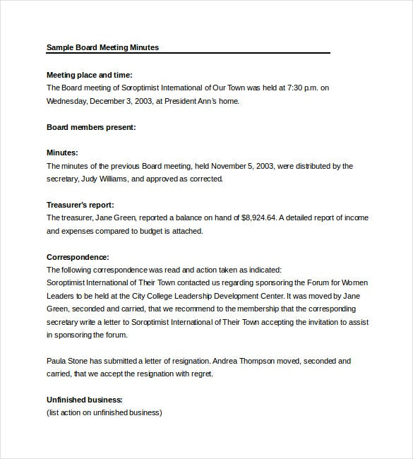 Board Meeting Minutes Word Template Free Download  Meeting Summary Template Word