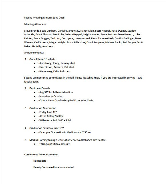 Faculty Meeting Note Free PDF Template Download  Meeting Note Taking Template