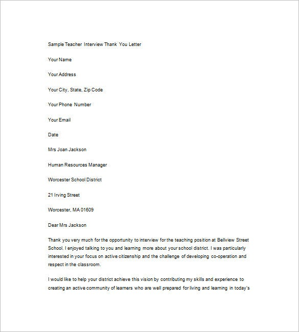Interview Thank You Notes  Free Sample Example Format