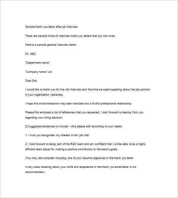 Interview Thank You Notes  Free Sample Example Format Download
