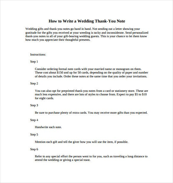 procedure of wedding thankyou note pdf free download