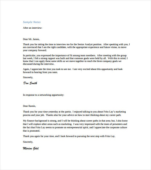 interview thankyou note free pdf template download