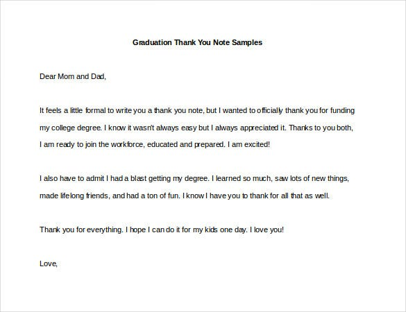 Sample Thank You Notes Graduation Example
