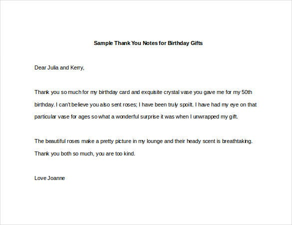 Sample Thank You Notes For Birthday Gifts Free