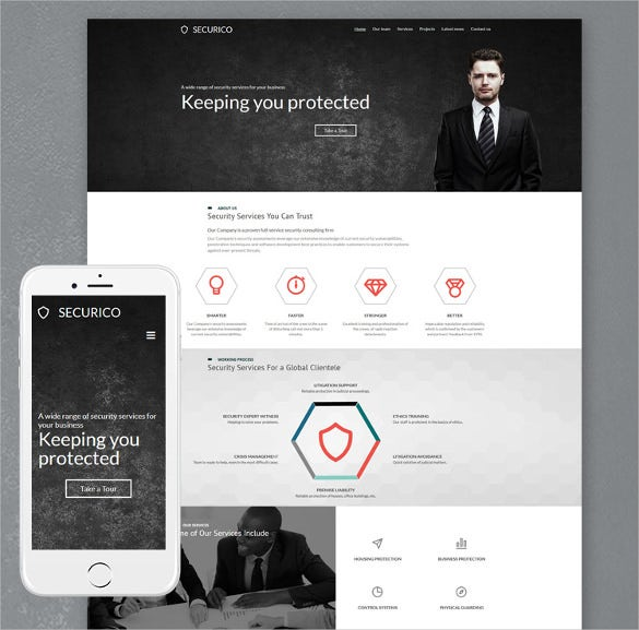 security responsive moto cms 3 php template
