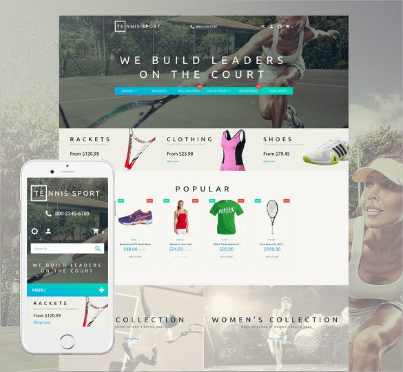 tennis responsive prestashop portfolio php theme