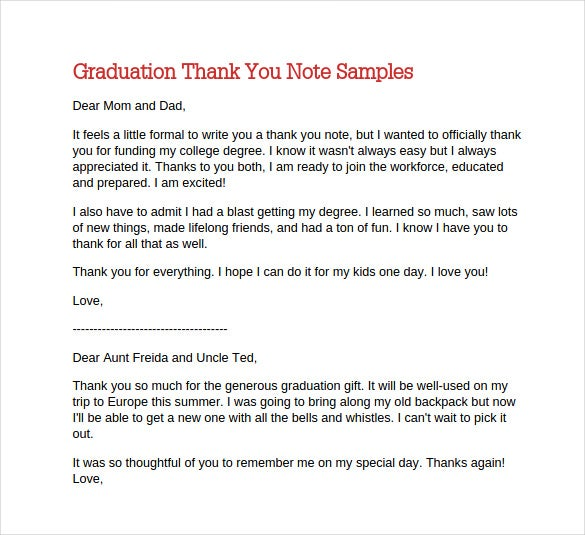 12 Thank You Note Templates Free Sample Example Format – Graduation Thank You Letter