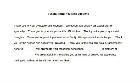 Beautiful Sample Funeral Thank You Note Etiquette