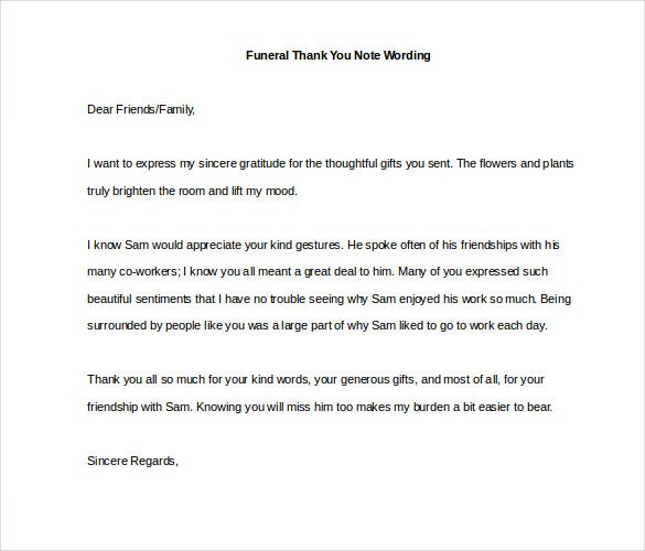 Funeral Thank You Notes  Free Sample Example Format Download