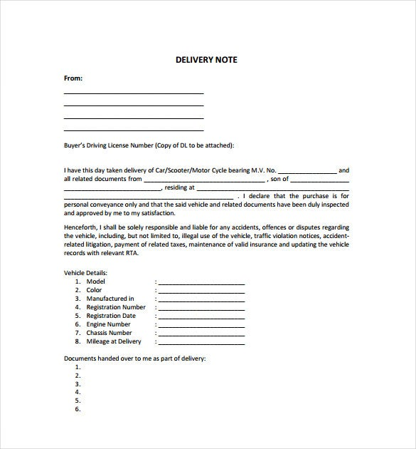 Delivery Note Template 22 Free Word PDF Format Download