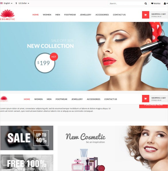 cosmetic elegant portfolio magento theme