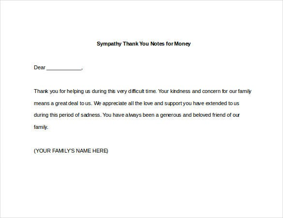 Sympathy Thank You Notes  Free Sample Example Format