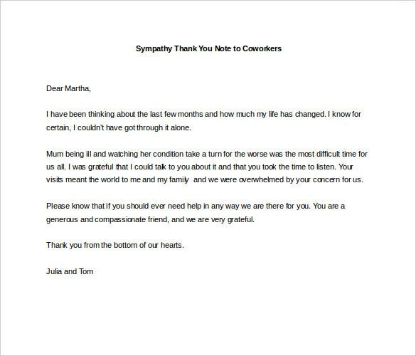 Superb Sympathy Thank You Note To Coworkers Example  Condolence Sample Note