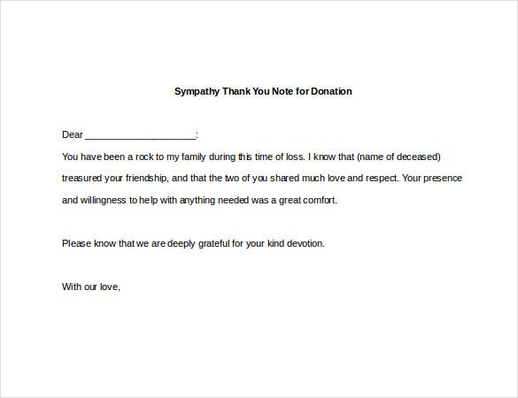 sympathy thank you note for donation2