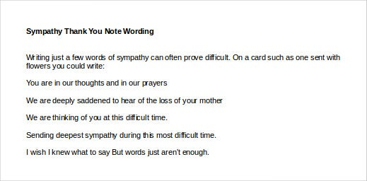 sympathy thank you note wording1