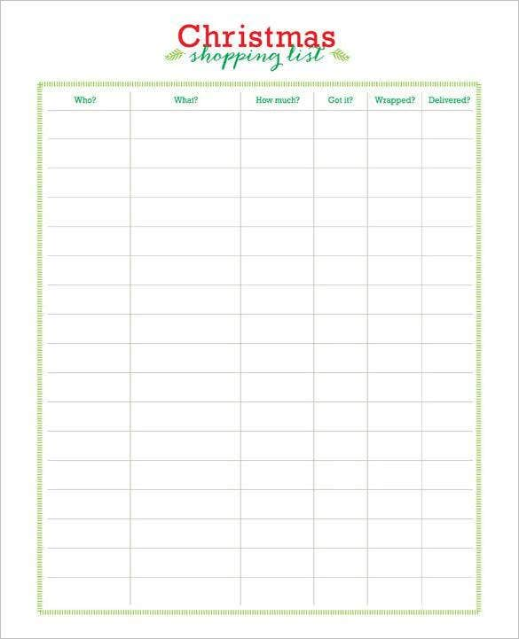 Free christmas gift shopping list template