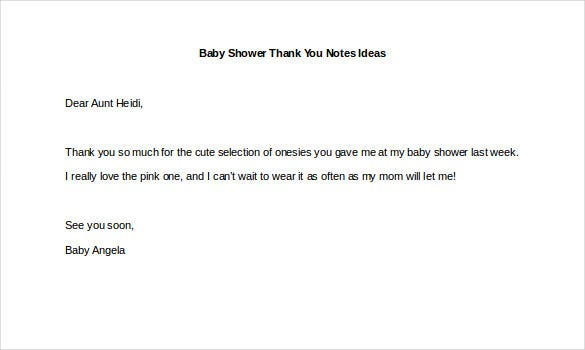 baby shower thank you notes ideas