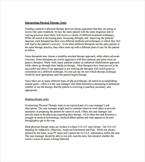 interpriting physical therapy soap note free pdf template