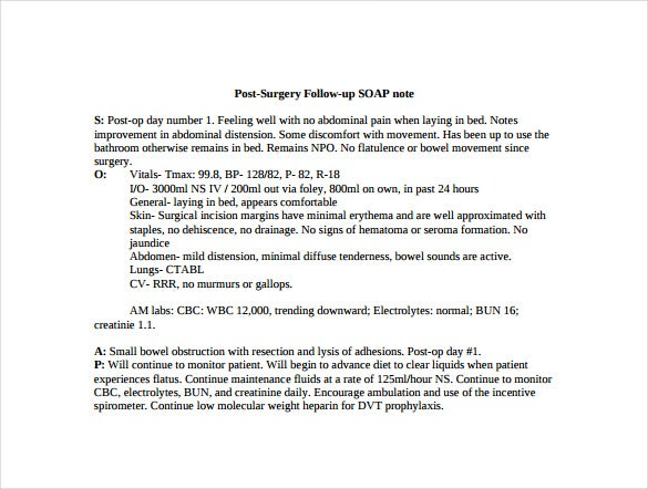 post surgery follow up saop note free pdf template