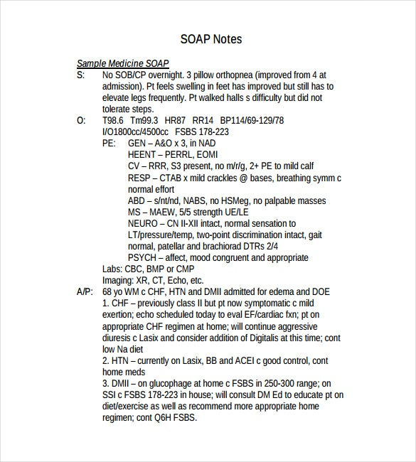 Soap Note Template – 9+ Free Word, PDF Format Download! | Free ...