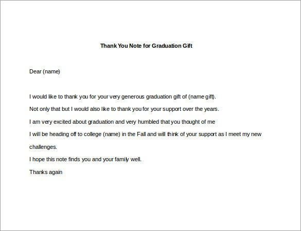 8 Thank You Note For Gift 8 Free Sample Example Format – Graduation Thank You Letter