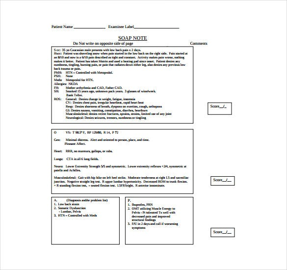 medical knowledge soap note free pdf template