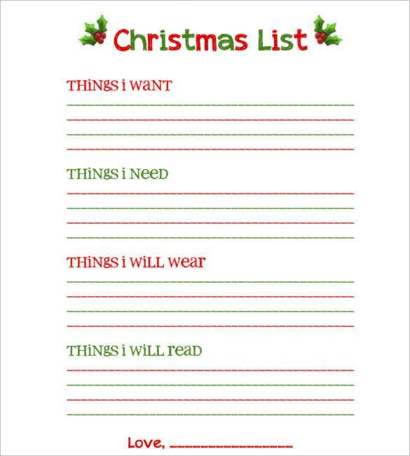 download blank christmas list free printable