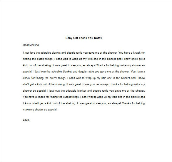 Thank You Note For Gift   Free Sample Example Format