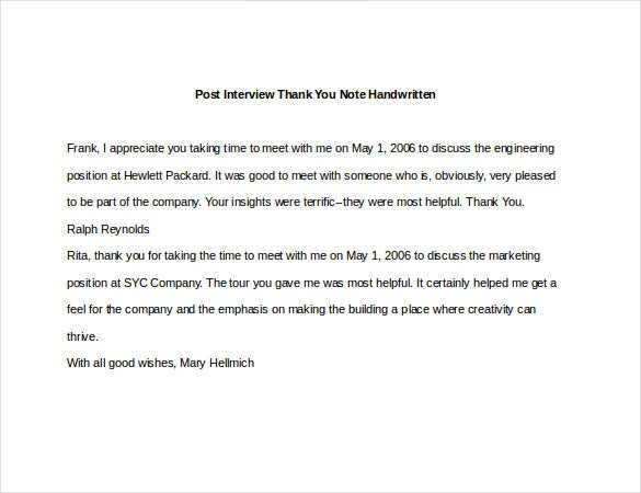 8+ Post Interview Thank You Notes – Free Sample, Example, Format