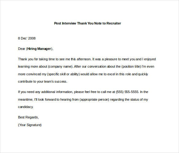 8 Post Interview Thank You Notes Free Sample Example Format – Thank You Letter for Interview