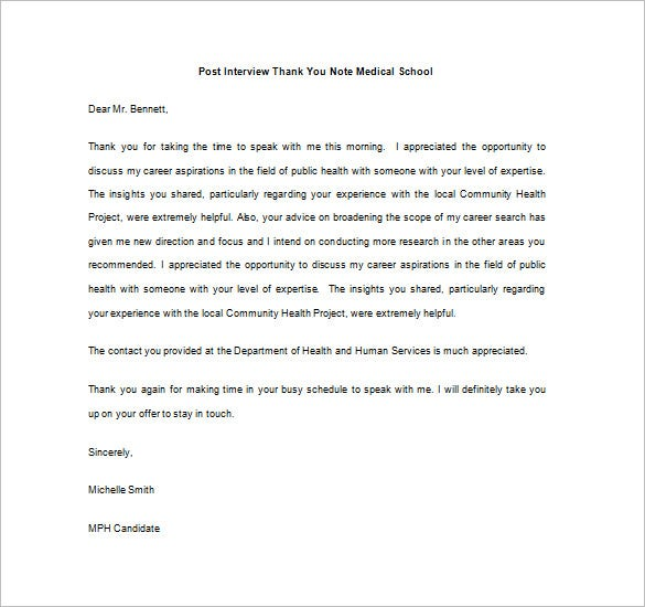 Post Interview Thank You Notes  Free Sample Example Format