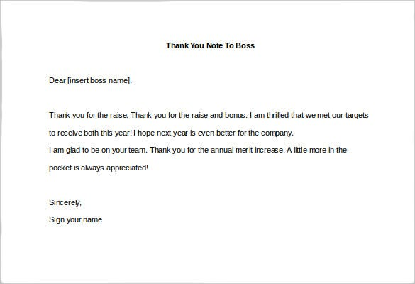 Thank You Note Template Sample Thank You Note To Boss For Raise – Thank You Note Sample