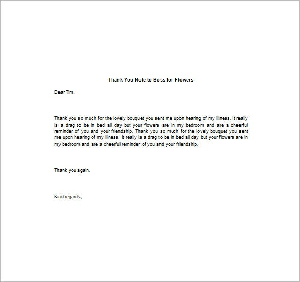 Thank You Notes To Boss  Free Sample Example Format