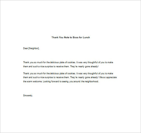 Thank You Note To Boss For Lunch Download